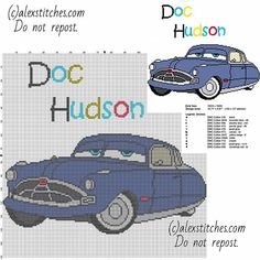Doc Hudson Disney Cars and Cars 2 character free cross stitch pattern children cartoon