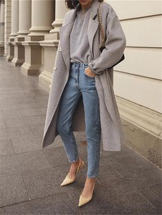 Elegant Stylish Versatile Collar Double-Breasted Long-Sleeved Coats Source by fashion jeans Fashion Casual, Look Fashion, Fashion Outfits, Womens Fashion, Fall Fashion, Fashion Ideas, 70s Fashion, Korean Fashion, Fashion Coat