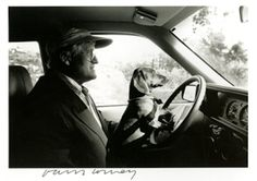 David Hockney with his dog Stanley. Late 1980s.