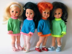 Danish dolls- Pusle Dukker. In english it means something like this: Cuddle Dolls. These dolls are not manufactured anymore, and they are a big collector object today. I still have one Pusle Dukke/Cuddle Doll from my childhood.