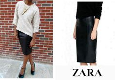 ZARA Leather Midi Pencil Bodycon Skirt, Bloggers  #ZARA #Midi #Casual