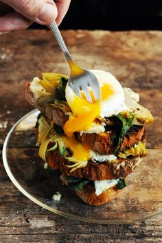 Egg & Toast Stack with Spinach, Artichokes, & Roquefort Cheese Slices