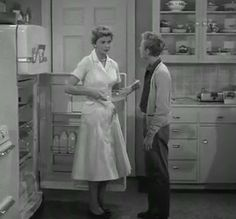 """your kitchen always looks so clean"""" June Cleaver: """"Why thank you Eddie"""" Eddie: """"My mother says it looks as though you never do any work in here. Vintage Tv, Vintage Movies, Cynthia Ozick, Leave It To Beaver, June Cleaver, You Look Stunning, Old Time Radio, Old Shows"""