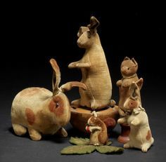 Steiff collection; felt Rabbits, Squirrel Pincushion and Cat spinning toy, circa 1909