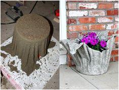 Diy make cement cloth planters (video) Diy Concrete Planters, Cement Pots, Concrete Garden, Diy Planters, Garden Planters, Potted Garden, Herb Garden, Garden Paths, Concrete Crafts