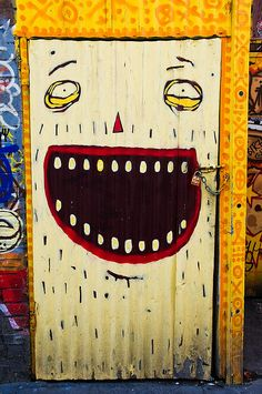 Happy face painted door. Melbourne