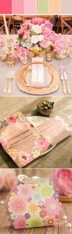 pink and gold summer wedding color inspiration and invitations