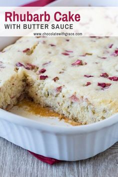 This rhubarb cake is an old fashioned recipe served with butter sauce. Made in a 9 x 13 pan it is a great vintage cake recipe to take to a potluck or picnic. Rhubarb Desserts, Rhubarb Cake, Rhubarb Recipes, Sweet Desserts, Easy Desserts, Sweet Recipes, Delicious Desserts, Summer Desserts, Baking Recipes