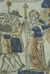 A medieval picture of Pilgrims on the way to Santiago  Year? Place?