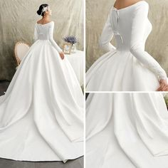 Vintage / Retro Ivory Satin Winter Wedding Dresses 2019 Princess Scoop Neck Long Sleeve Chapel Train Ruffle Popular 2019 Summer Beach Wedding Dresses Off The Shoulder A-line Lace Tulle Bridal Gowns Lace Beach Wedding Dress, Western Wedding Dresses, Princess Wedding Dresses, Modest Wedding Dresses, Bridal Dresses, Lace Dresses, Wedding Gowns, Wedding Frocks, Ceremony Dresses