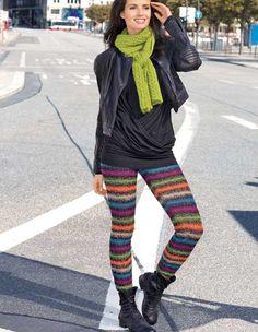 Описание вязания на спицах полосатых леггинсов из журнала «Verena. Модное вязание» №5/2013