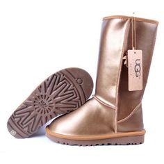 ♥の♥ UGG Metallic Classic Tall Boots 5812 Golden ,\(^o^)/~ Marked For My Shopping Bags. Uggs On Sale, Ugg Boots Sale, Ugg Boots Cheap, Uggs For Cheap, Boots For Sale, Classic Ugg Boots, Ugg Classic, Casual Boots, Sheepskin Ugg Boots