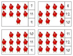The Little Red Hen Count & Clip Cards *Common Core Aligned*  There are 12 clip cards. On each card is a set of pictures to count and a choice of three numerals. Learners count the pictures in the set and clip a clothespin to the numeral that corresponds with the number of pictures in the set.  Common Core Standards: CC.K.B.4 CC.K.B.4a CC.K.B.4b CC.K.B.4c CC.K.B.5