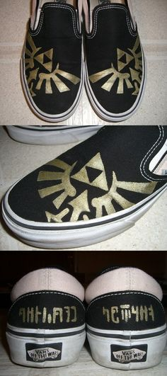 Trotting In Triforces Want your own pair of Triforce shoes? Need to showcase that you embrace wisdom and courage on your heels in Hylian? Grab yourself a pair of Vans and a gold paint marker and follow the shoe design by one-crazy-fox. Its simple enough that even that you dont need to be an artist or super crafty to recreate the Triforce or Hylian on the back. Need to do this