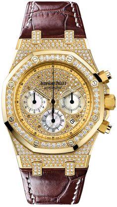 Audemars Piguet Royal Oak Chronograph Diamond Pave 18 Kt Yellow Gold Mens Watch 26067ba.zz.d088cr.01