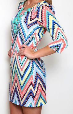 All The Colors Chevron Dress