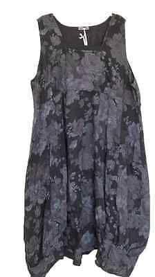 "New Italian LAGENLOOK Plus Size BALLOON Shaped BOHO Tulip FLORAL LINEN Dress 50"""