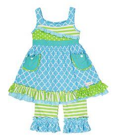 Look at this #zulilyfind! Lime & Aqua Ruffle Dress & Capri Pants - Infant, Toddler & Girls #zulilyfinds