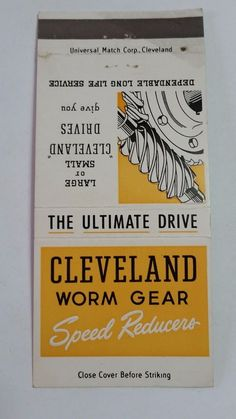 CLEVELAND WORM & GEAR CO. CLEVELAND OHIO THE ARISTOCRAT #MatchBook Cover  To order your business' own branded #matchbooks or #matchoxes GoTo: www.GetMatches.com or CALL 800.605.7331 to Get The Process Started Today!