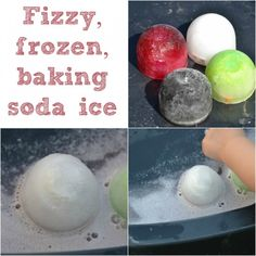 Fun and fizzy baking soda ice cube experiment.