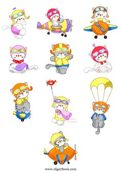 LE - sweet Pilot Kittiesfree vector clipart designs for digitizers textile and fashion designers