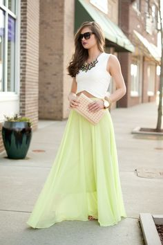 White top and mint long skirt street fashion
