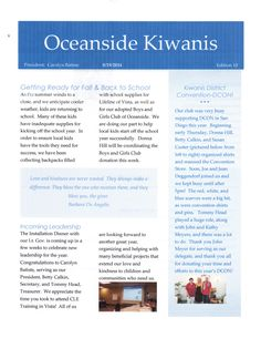 August Newsletter (Front)