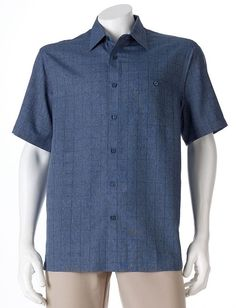 Just $19.99! NEW/NIB Haggar Windowpane Microfiber ButtonDown Shirt Men $48RET S/S Navy Blue #Haggar #ButtonDown #shirt #menswear