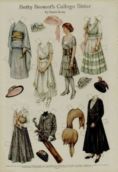 1915 Betty Bonnet's college sister paper doll. Great idea of what young women were wearing in 1915.