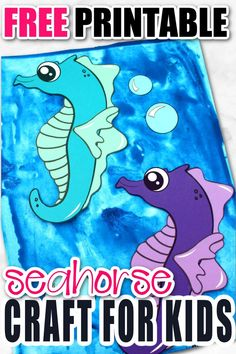 Looking for your next ocean theme preschool craft? Use our free printable seahorse template to make this fun ocean themed arts and craft project. You can even name him Mister Seahorse if you would like! This sea creature is especially fun to make with toddlers and kindergarten age kids too! #seahorse #seahorsecrafts #oceananimals #oceananimalcrafts #SimpleMomProject Seahorse Crafts, Whale Crafts, Turtle Crafts, Seahorse Art, Ocean Theme Crafts, Ocean Animal Crafts, Animal Crafts For Kids, Sea Creatures Crafts, Printable Crafts