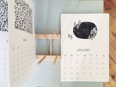 hand printed calendar 2017 botanical illustrated calendar A4 - modern botanics
