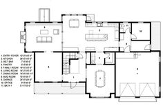 Traditional Style House Plan - 4 Beds 2.5 Baths 4279 Sq/Ft Plan #497-46 Floor Plan - Main Floor Plan - Houseplans.com