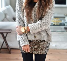 sequin skirt and chunky cardigan