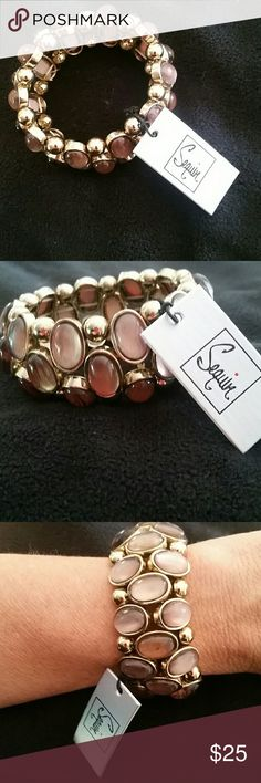SEQUIN OF NEW YORK BRACELET NWT  gold/taupe stone. Stretch on to wrist beautiful SEQUIN OF NEW YORK  Jewelry Bracelets