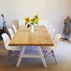 Reclaimed Industrial Chic A-Frame 6-8 Seater Solid Wood & Metal Dining Table in White.Cafe Restaurant Furniture Steel Made to Measure 120