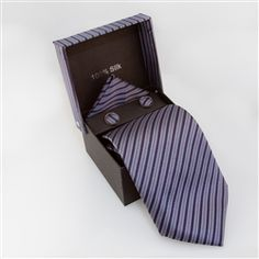 Dark Purple, Dark Magenta, Gray Striped Specialty Box    	  This is a Specialty Box Set that comes with a tie, matching cufflinks, and pocket square, all in a matching Box.  Perfect for weddings, dinner parties, and other special occasions.