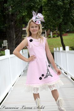 Paris Eiffel Tower Vintage Girls tank pink knit dress Custom size 3T to 12 yrs on Etsy, $95.00