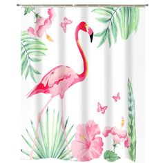 Bay Isle Home Eilis Flamingo Single Shower Curtain + Hooks Flamingo Bathroom, Flamingo Shower Curtain, Navy Bathroom, Flamingo Decor, Striped Shower Curtains, Shower Curtain Hooks, Pink Flamingos, Bathroom Ideas, Curtains Kohls