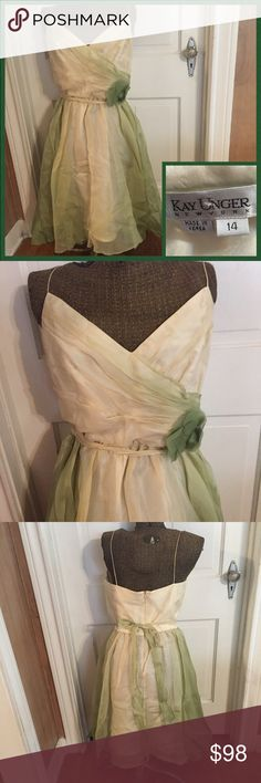 """☘Kay Unger Silk Organza Cocktail Dress. Size 14 ☘Kay Unger Silk Organza Cocktail Dress. Size 14. Worn once. Absolutely stunning. Beautiful cream and varying shades of green silk with flower detail at waist and detachable tie at waist. Back zipper. Spaghetti straps. A line skirt.  Bust:  19.5"""". Waist: 16.5"""". Length: 43"""". Kay Unger Dresses"""
