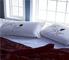 White Love you more Pillow Talk Bedlinen Indian Wedding Gifts, Moving In Together, Linen Store, Awesome Bedrooms, Pillow Talk, Love You More, Linen Bedding, Bed Sheets, Pillow Covers