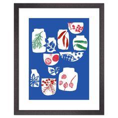 Spices & Herbs Blue, Framed Print, 36x28cm | achica