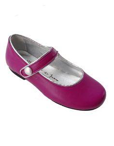 Manuela de Juan Magenta Fuchsia Pink Gold Piping Mary Jane Shoe