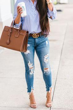 367182ed30f Gucci Belt + Striped Pullover