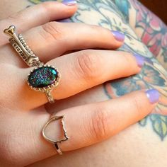 C o m b o ! YES!! @roxestar Check out this awesome combo: Droplet Stack Lonely Bone & #bmmstacks paired with a Drusy Crown & Bad Cat ring Shop here  http://ift.tt/2oonkJ8 #bloodymarymetal #bloodycatsclub #badcatsclub #TeamBMM