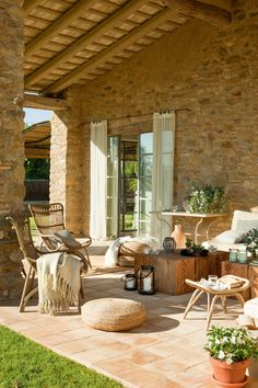 decordemon: Charming stone-clad Spanish home infused with inviting interiors Outdoor Rooms, Outdoor Living, Outdoor Furniture Sets, Outdoor Decor, Backyard Seating, Backyard Patio, Backyard Ideas, Garden Ideas, Spanish House