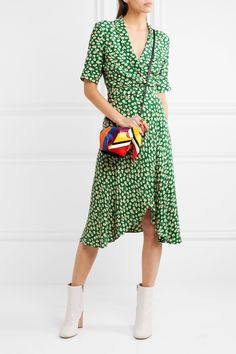 GANNI | Dalton floral-print crepe wrap dress | NET-A-PORTER.COM