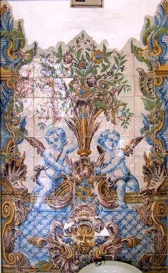 Tile Murals, Tile Art, Mosaic Tiles, Tile Panels, Circus Art, Antique Tiles, Blue Pottery, Portuguese Tiles, Angel Art