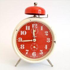Vintage White And Red Alarm Clock INSA  Yugoslavia by RetroFiles, on @Etsy