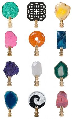 Colorful Lamp Finials by Hillary Thomas are an unexpected touch to an exiting lamp