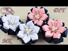 DIY: How to make a Kanzashi ribbon flower hair clip. Diy Lace Ribbon Flowers, Ribbon Flower Tutorial, Ribbon Embroidery Tutorial, Diy Ribbon, Ribbon Crafts, Felt Flowers, Fabric Flowers, Making Hair Bows, Diy Hair Bows